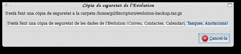 còpia de seguretat de l'Evolution